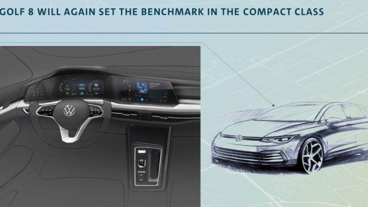 Volkswagen enthüllte eine Skizze eines neuen Golf. Im Innenraum befinden sich bis zu drei Displays.