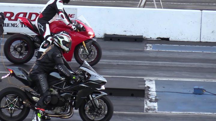 Ducati Panigale V4 gegen Kawasaki H2. Wer wird den Sprint gewinnen?
